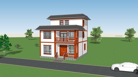 二层半自建房, 流畅的砖红色线条装饰, 造型干净利落!