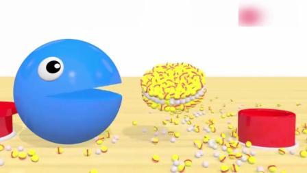 豆豆人吃掉彩色小球拼成的夹心饼干, 益智动画学颜色