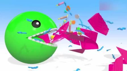 益智动画: 豆豆人过生日了, 吃掉生日蛋糕学颜色