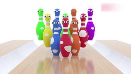 儿童益智动画, 玩足球打保龄球游戏, 学习各种颜色名称