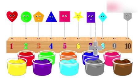 各种形状的棒棒糖在颜料杯染色, 益智动画学形状颜色名称和数字