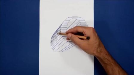 牛人在纸上画的字母O, 跟凸起来似的, 看着立体感