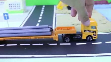 挖掘机儿童玩具挖掘机城市工程车们修污水排水管