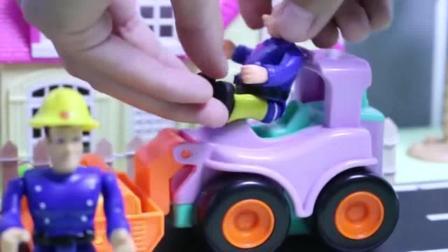 挖掘机儿童玩具挖掘机城市里忙碌的工程车和小人们