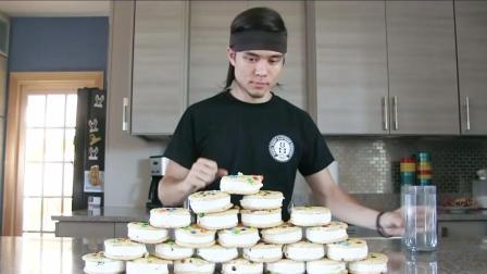 大胃王挑战25个冰淇淋, 满满都是卡路里, 网友: 吃完也不怕变胖吗?
