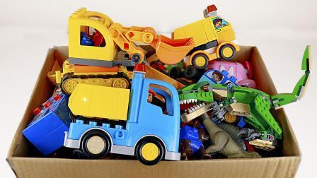 挖掘机卡车汽车玩具盒 乐高积木工程车玩具车