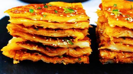 葱油饼最好吃的家常做法, 告诉你步骤简单和配方, 在家用平底锅就能做出松软劲道的葱油饼