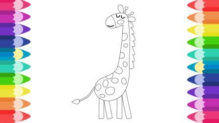 一起画动物园的长颈鹿鳄鱼兔子 小动物画画涂色