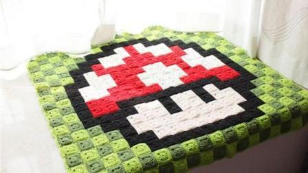 毛线钩针编织蘑菇毯,儿童游戏毯编织视频
