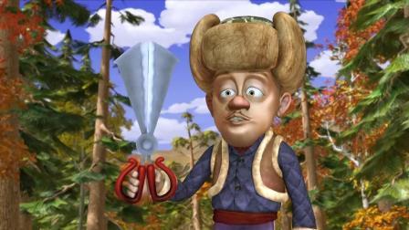 光头强拿着剪刀要剪掉熊二的熊掌? 它吓的都爬上了树, 太搞笑了