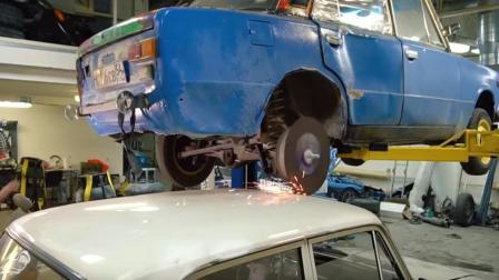 俄罗斯大叔给汽车轮毂装砂轮当切割机用, 网友: 汽车烧油不要钱?