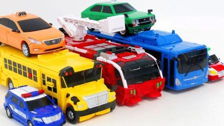 迷你特工队工程车越野车校车变形金刚机器人玩具