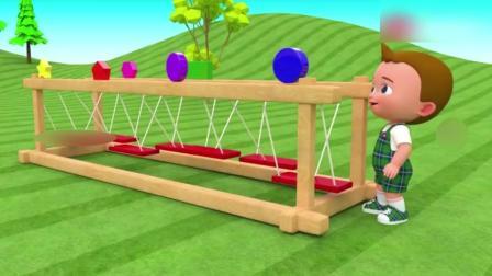 萌宝宝在摇晃木桥上行走, 取得两边的各种形状学颜色名称