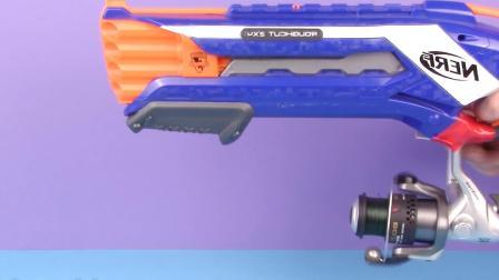 国外牛人用钓鱼线制作玩具枪, 发射出去的炮弹可