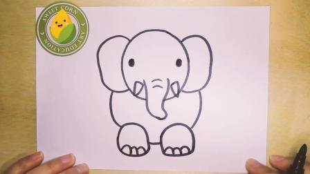 儿童简笔画大象