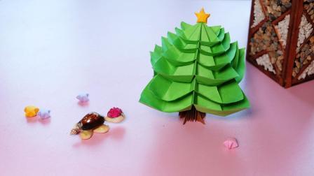 圣诞节快到了, 一起来折一棵圣诞树吧, 装饰书桌很不错!