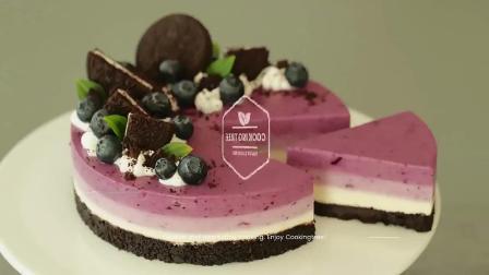 小杰搬运 美食 美味 料理 制作 甜点 蓝莓奥利奥免烤芝士蛋糕