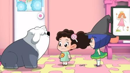 棉花糖和云朵妈妈:小苹果演巫婆,棉花糖说得要有个大鼻子!