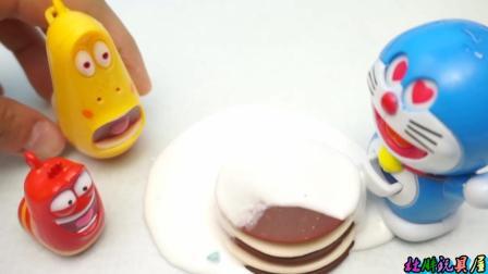 贪吃的爆笑虫子制作巧克力蛋糕 爆笑虫子巧克力蛋糕被机器猫吃了