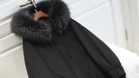 2018新款羽绒服女, 冬季中长款韩版宽松加厚, 大毛领茧型蝙蝠袖外套潮