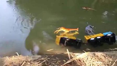 轮船解救落水的小动物们工程车亲子益智玩具视频分享