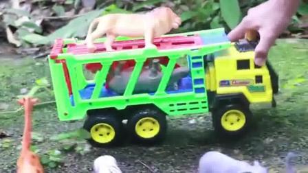 轮船载可爱的小动物们过河工程车亲子益智玩具视频分享
