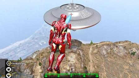 GTA5 钢铁侠飞到半空发现UFO, 居然是无敌的, 放激