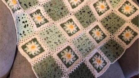 【金贝贝手工坊254辑】M161十二月花毯(12月水仙花毯子)毛线钩针编织成人儿童花朵盖毯编织方法教程