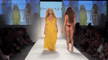 超模恍若画中人, 搭配黄色连体时装, 非常光鲜!
