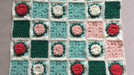 十二月花毯(11月茶花)毛线钩针编织花朵盖毯儿童毯空调毯