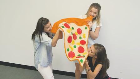 巨型软糖披萨, 三位美女直接抱着啃, 网友: 这辈子都不可能戒糖了