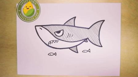 儿童简笔画大鲨鱼