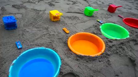噢! 彩色小车跳进了颜料水中工程车亲子益智玩具视频分享