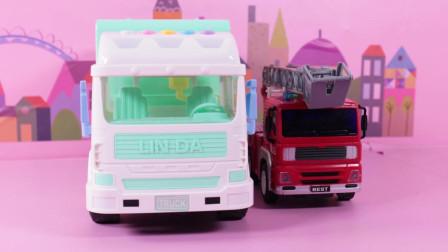 超好玩有趣的城市环卫车和云梯消防车玩具, 趣味认知城市环卫车