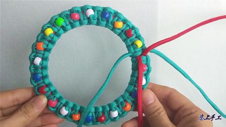 3分钟快速教你编个圣诞花环, 太漂亮了, 手工编绳教程
