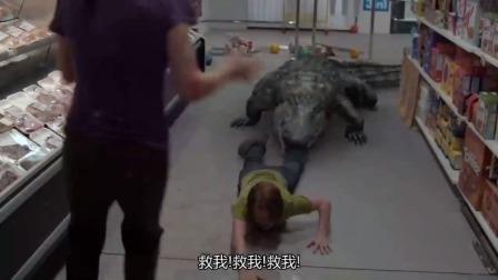 恐怖巨鳄小孩,女子略施妙招,巨鳄立马主动放过小孩