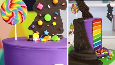 """超火的""""巧克力要流下来啦""""蛋糕, 切开后竟有彩虹的世界, 太美了"""
