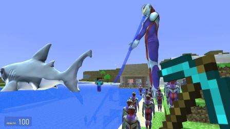 GMOD游戏迪迦为了抓大白鲨把海水都吸光了
