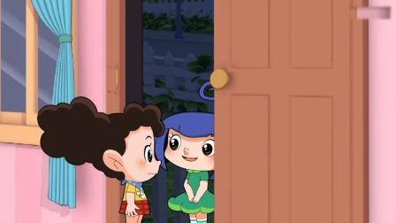 棉花糖和云朵妈妈:小苹果来找棉花糖,棉花糖刚想去找她呢!