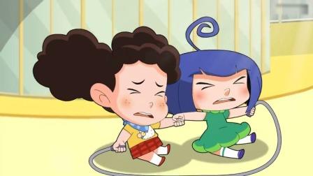 棉花糖和云朵妈妈:棉花糖和小苹果的双人跳绳,没跳好摔倒了!