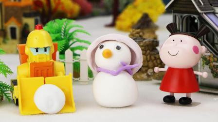 玩具小镇下雪了, 变形警车布鲁尼帮助孩子们堆雪人