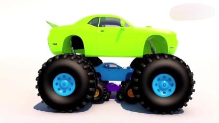 益智动画, 母子型玩具公路赛车教宝宝开心学颜色