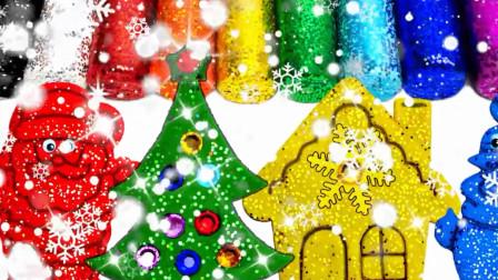 幼儿圣诞亲子早教彩泥手工: 圣诞树、圣诞老人、雪花、圣诞屋