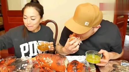 泰国微笑姐, 和外国丈夫吃15斤大龙虾, 大口吃好过瘾啊