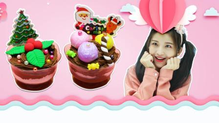 圣诞节冰淇淋球麋鹿甜品杯, diy手工轻粘土食玩玩具