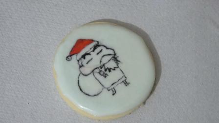 动漫圣诞节糖霜饼干系列: 蜡笔小新来扮圣诞老人, 祝大家节日快乐