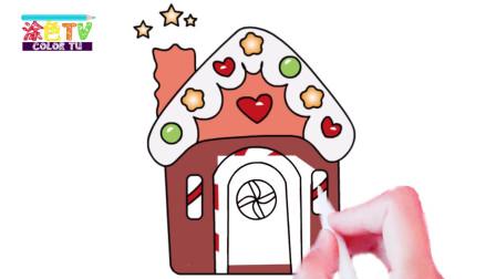 温暖圣诞小屋和装饰圣诞树 亲子绘画记单词