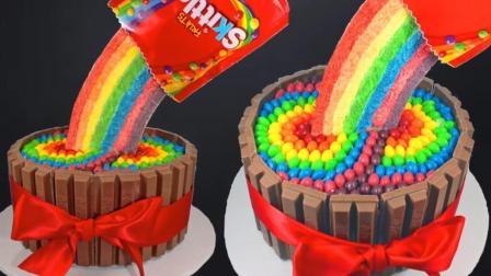 牛人制作超美的彩虹糖蛋糕, 这创意, 一般人还真想不出来!