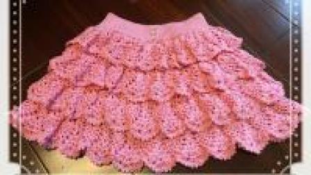 钩条漂亮的短裙搭衣服, 一款多层花瓣裙教程, 青春又活泼! (一)