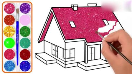 幼儿绘画 绘画3d 房子和着色